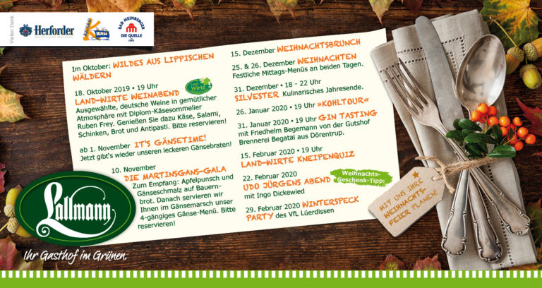 Kulinarischer Kalender Gasthof Lallmann